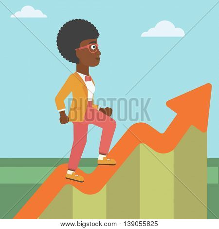 An african-american business woman running along the growth graph. Business woman going up. Woman moving up. Successful business concept. Vector flat design illustration. Square layout.