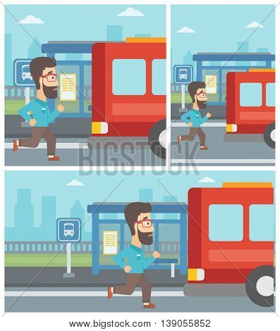 Latecomer man running along the sidewalk to reach a bus. Hipster man with the beard came too late at bus stop. Man chasing a bus. Vector flat design illustration. Square, horizontal, vertical layouts.