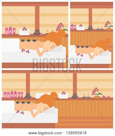Young woman relaxing while getting stone therapy massage in the spa center. Young woman having back massage in the spa salon. Vector flat design illustration. Square, horizontal, vertical layouts.