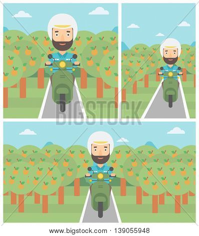 A hipster man with the beard riding a scooter on the asphalt road through the orchard. Young man in helmet driving a scooter. Vector flat design illustration. Square, horizontal, vertical layouts..