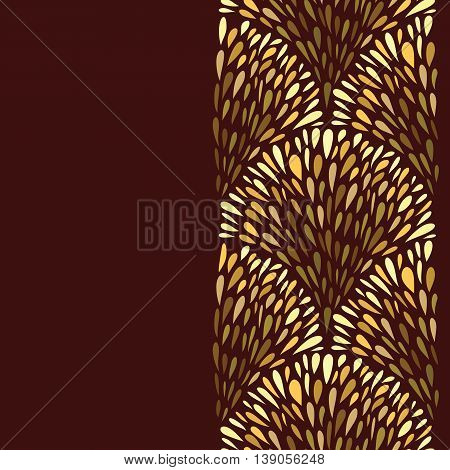 Background with golden fountains pattern. Abstract design hand drawn gold drops elements. Vertical seamless pattern. Copy space. Vector illustration.