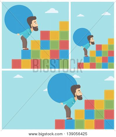 Tired hipster man rising up on the colored cubes and carrying a big stone on his back. Man with huge concrete ball. Vector flat design illustration. Square, horizontal, vertical layouts.