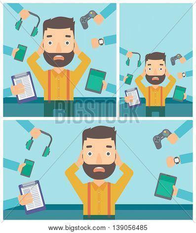 Man in despair and many hands with gadgets around him. Young man surrounded with gadgets. Man using many electronic gadgets. Vector flat design illustration. Square, horizontal, vertical layouts.