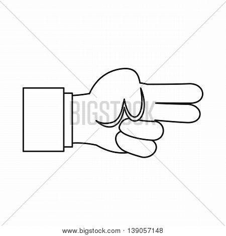 Hand showing two fingers icon in outline style isolated vector illustration