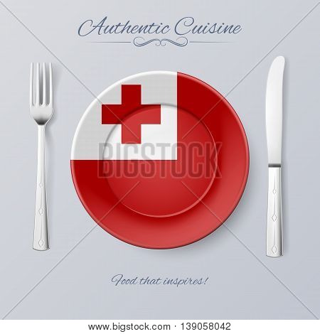 Authentic Cuisine of Tonga. Plate with Tongan Flag and Cutlery poster