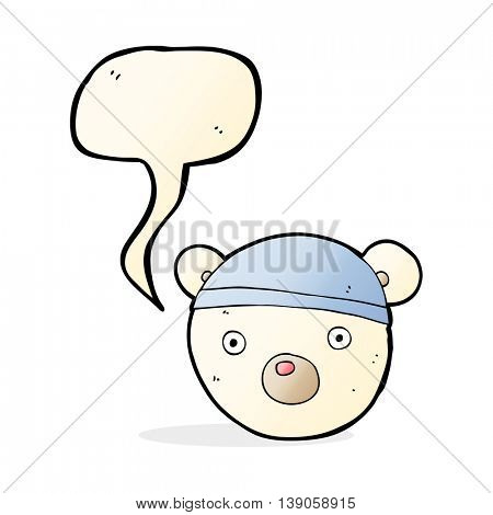 cartoon polar bear cub wearing hat with speech bubble