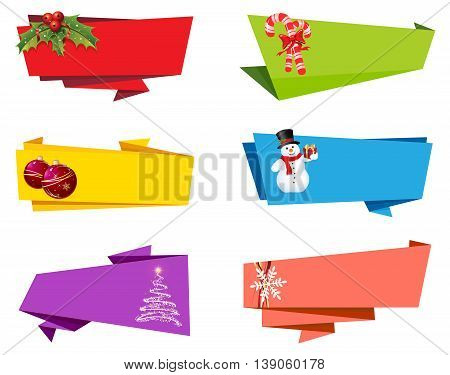 Vector file representing Christmas Label Ribbon Banner design collection.