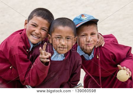 LEH INDIA - JUNE 24 2015: Unidentified Tibetan students in a lesson on Sport in Druk White Lotus School