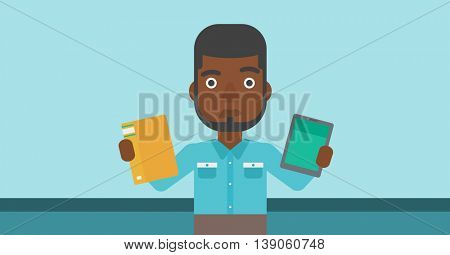 An african-american man choosing between a tablet computer and a paper book. Man holding book in one hand and tablet computer in the other. Vector flat design illustration. Horizontal layout.