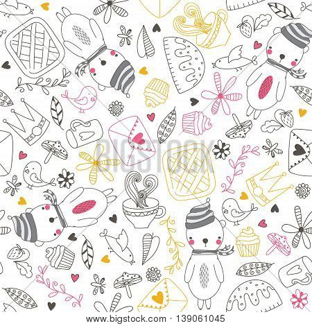 Cheerful seamless pattern with bear bird tea cake and other cute things.Seamless pattern can be used for wallpapers pattern fills web page backgrounds surface textures. Cute vector wallpaper