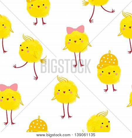 Seamless background with cute yellow chicks on a white background.For cards tags textiles wallpapers gift wrapping paper.