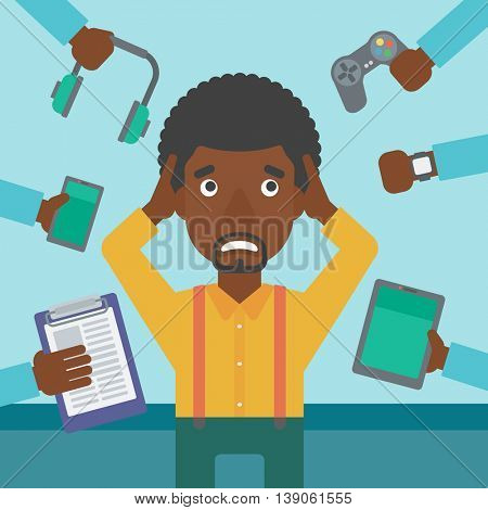 An african-american man in despair and many hands with gadgets around him. Young man surrounded with gadgets. Man using many electronic gadgets. Vector flat design illustration. Square layout.