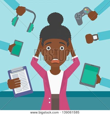 An african-american woman in despair and many hands with gadgets around her. Woman surrounded with gadgets. Woman using many electronic gadgets. Vector flat design illustration. Square layout.