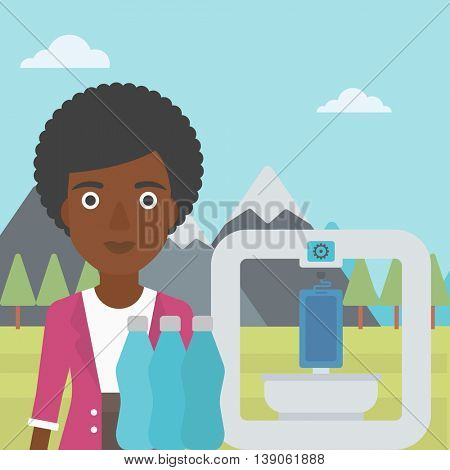 An african-american woman standing near three D printer on the background of mountains. 3D printer making a smartphone using recycled plastic bottles. Vector flat design illustration. Square layout.