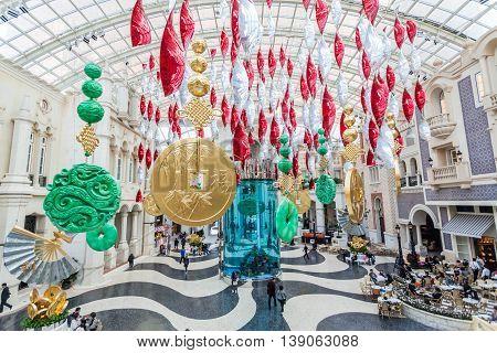 Taipa, Macau - February 2, 2015: The MGM Hotel, Macau. This lavish, high-rise resort with a grand, interior plaza, lies next to Nam Van Lake