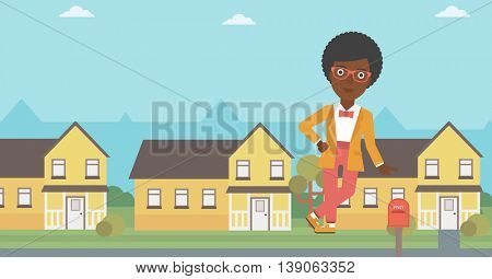 An african-american female real estate agent standing near the house. Real estate agent leaning on the house. Real estate agent offering house. Vector flat design illustration. Horizontal layout.