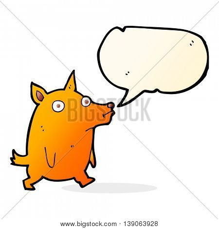 cartoon funny little dog with speech bubble