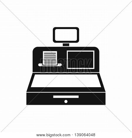 Cash register with cash drawer icon in simple style isolated vector illustration poster