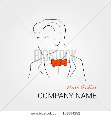 Vector illustration a silhouette of man with orange bow tie on isolated background. Banner or card template for mans wear shop or salon. Can use for company logo. Hipster style