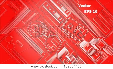 top view city red background schematic building vector illustration