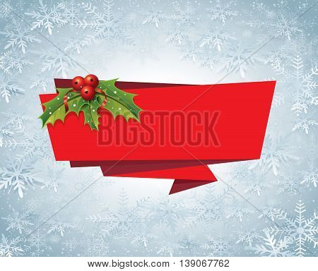 Vector file representing Christmas Banner Ribbon Label on a snow background.