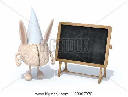 Human Brain With Ears Dunce And Hat In Front Of A Blackboard