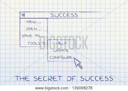 success menu in dropdown style with pointer clicking the Configure option metaphor of selecting the best choices for your life poster