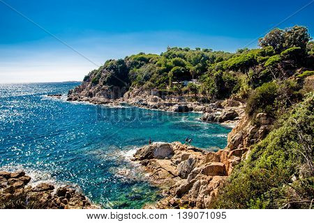 sea and coastline in Lloret de Mar, Spain