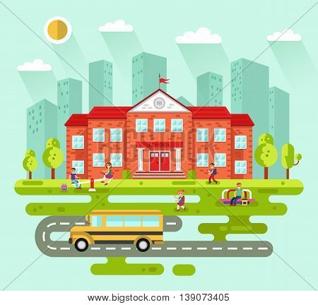 Vector flat style illustration of City landscape with school building. Bus, playground with playing kids, road, girls and boys with backpacks going to learn. Education concept. The Knowledge day.