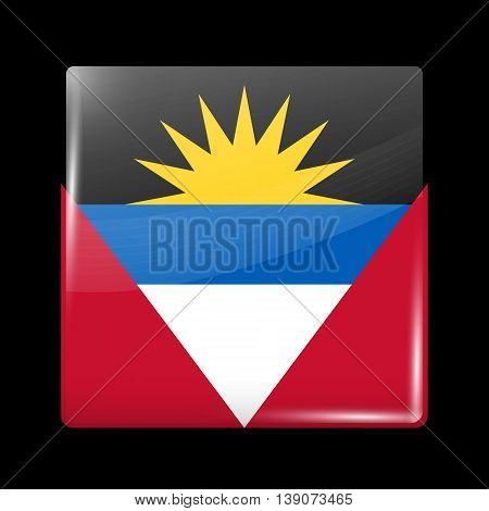 Flag Of Antigua And Barbuda. Glossy Icon Square Shape