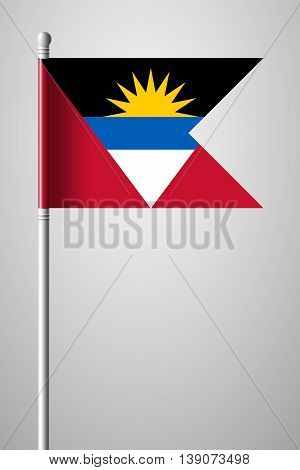 Flag Of Antigua And Barbuda. National Flag On Flagpole