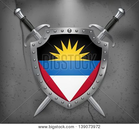 Flag Of Antigua And Barbuda. The Shield Has Flag Illustration. Vector Medieval Background