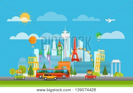 Different world famous sights. Vacation travelling concept. Vector travel illustration