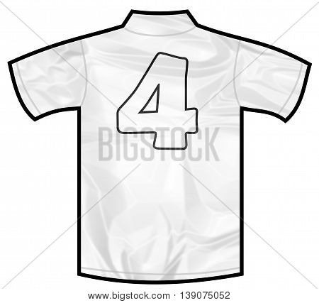 Number 4 four white sport shirt as a soccer, hockey, basket, rugby, baseball, volley or football team t-shirt. Like German or England or USA national team