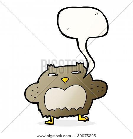 cartoon suspicious owl with speech bubble