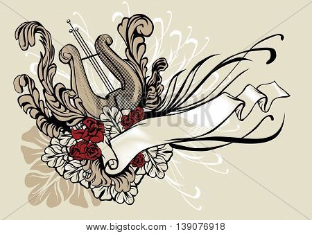 Decorative vector illustration of a harp with ribbon and floral ornament