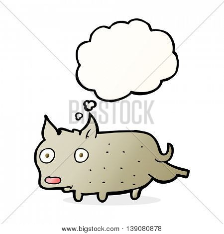 cartoon little dog cocking leg with thought bubble