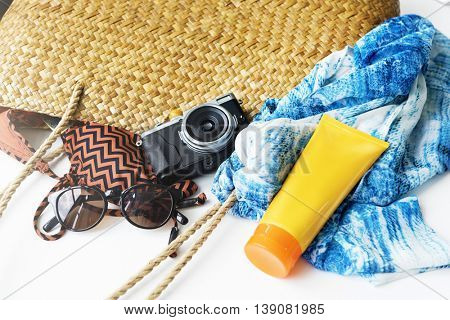 Sunblock Sunglasses Summer Bag Beach Trip Concept