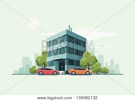 Vector illustration of modern business office building with green trees and cars parked in front of the workplace in cartoon style. House has glass facade. City skyscrapers skyline on green turquoise background.