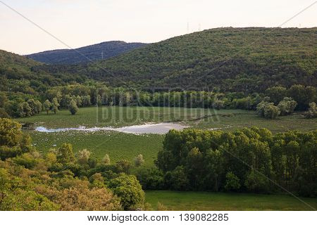 View of Lake Doberdò sinkhole in the Province of Gorizia Friuli-Venezia Giulia Italy