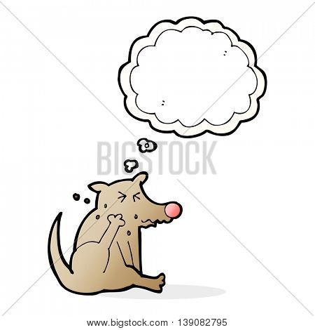 cartoon dog scratching with thought bubble