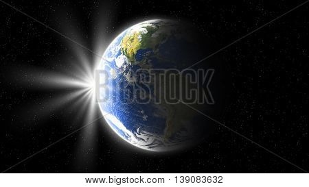 sun rise, view of earth from space