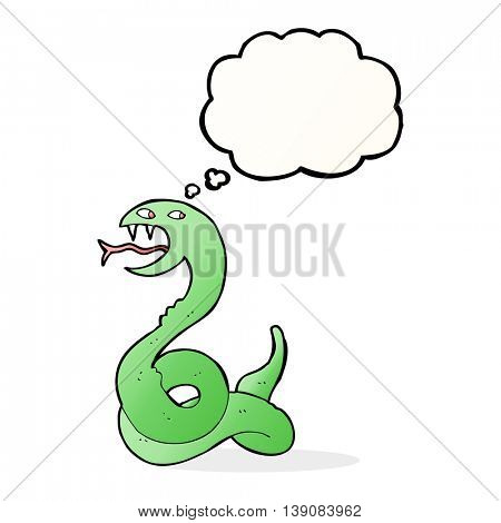 cartoon hissing snake with thought bubble poster
