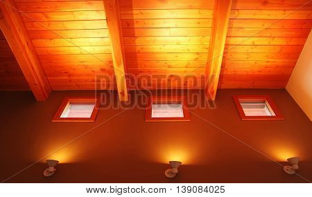 Modern Living Room Interior with concrete wall lamps light detail