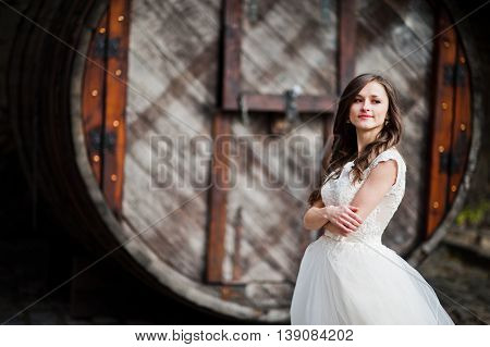 Bride portrait background old big barrel at wedding