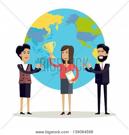 Happy woman with winner cup. Business man and woman in business suits congratulating winner on a background with planet. People clapping hand. Smiling young characters. Flat vector illustration.