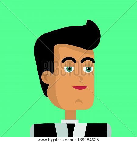 Businessman avatar icon isolated on green background. Man with black hair in business suit and tie. Smiling young man personage. Flat design vector illustration