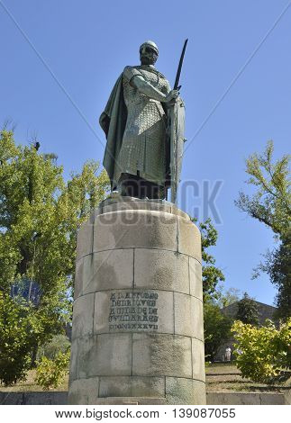 GUIMARAES, PORTUGAL - AUGUST 9, 2016: Memorial monument to the first Portuguese king Alfonso I next to the Castle of Guimaraes in the northern region of Portugal.