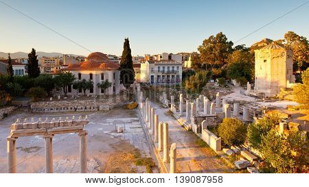 ATHENS, GREECE - JULY 17, 2015: Remains of the Roman Agora and Tower of Winds in Athens, Greece on July 17, 2015.