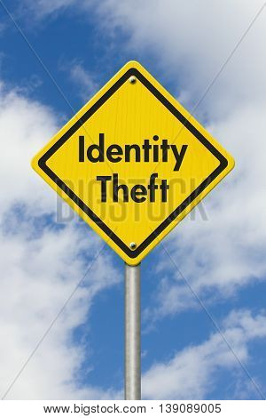 Yellow Warning Identity Theft Highway Road Sign Yellow Warning Highway Sign with words Identity Theft with sky background, 3D Illustration